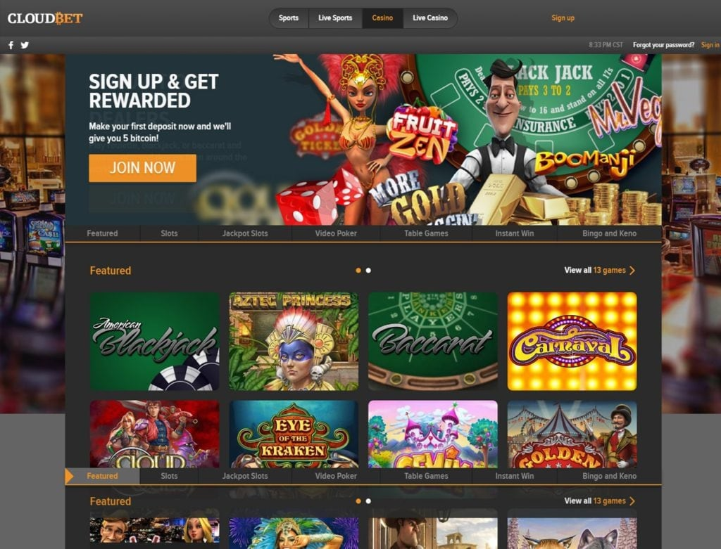 Play the best casino games at Cloudbet