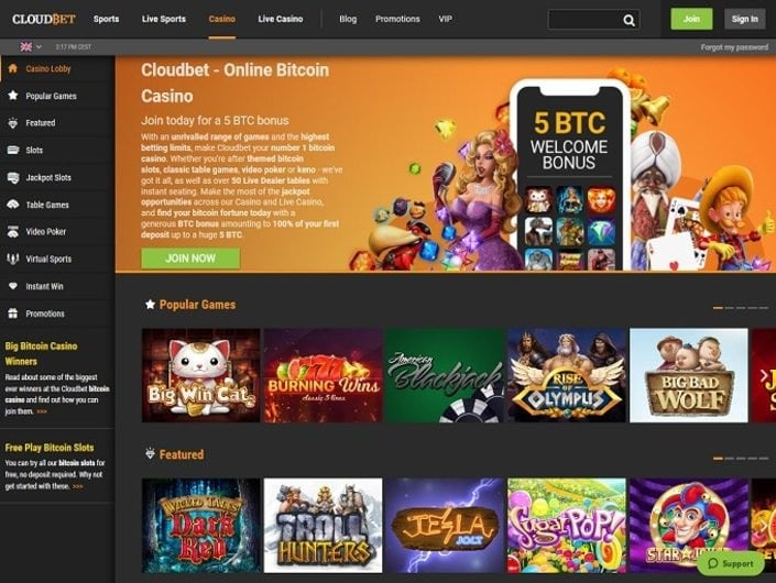 Cloudbet games and betting opportunities