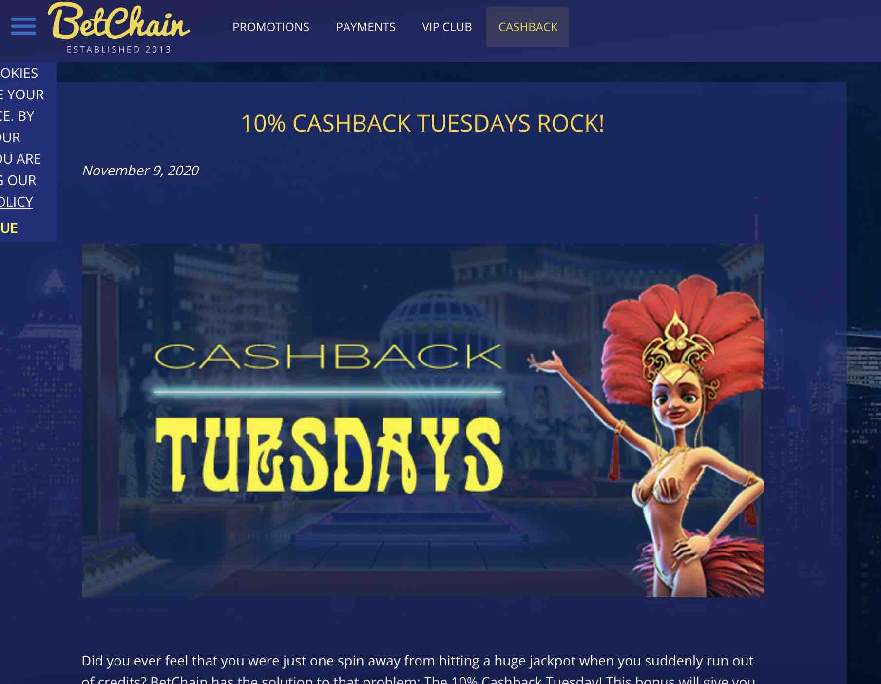 Cashback Offers at BetChain Casino