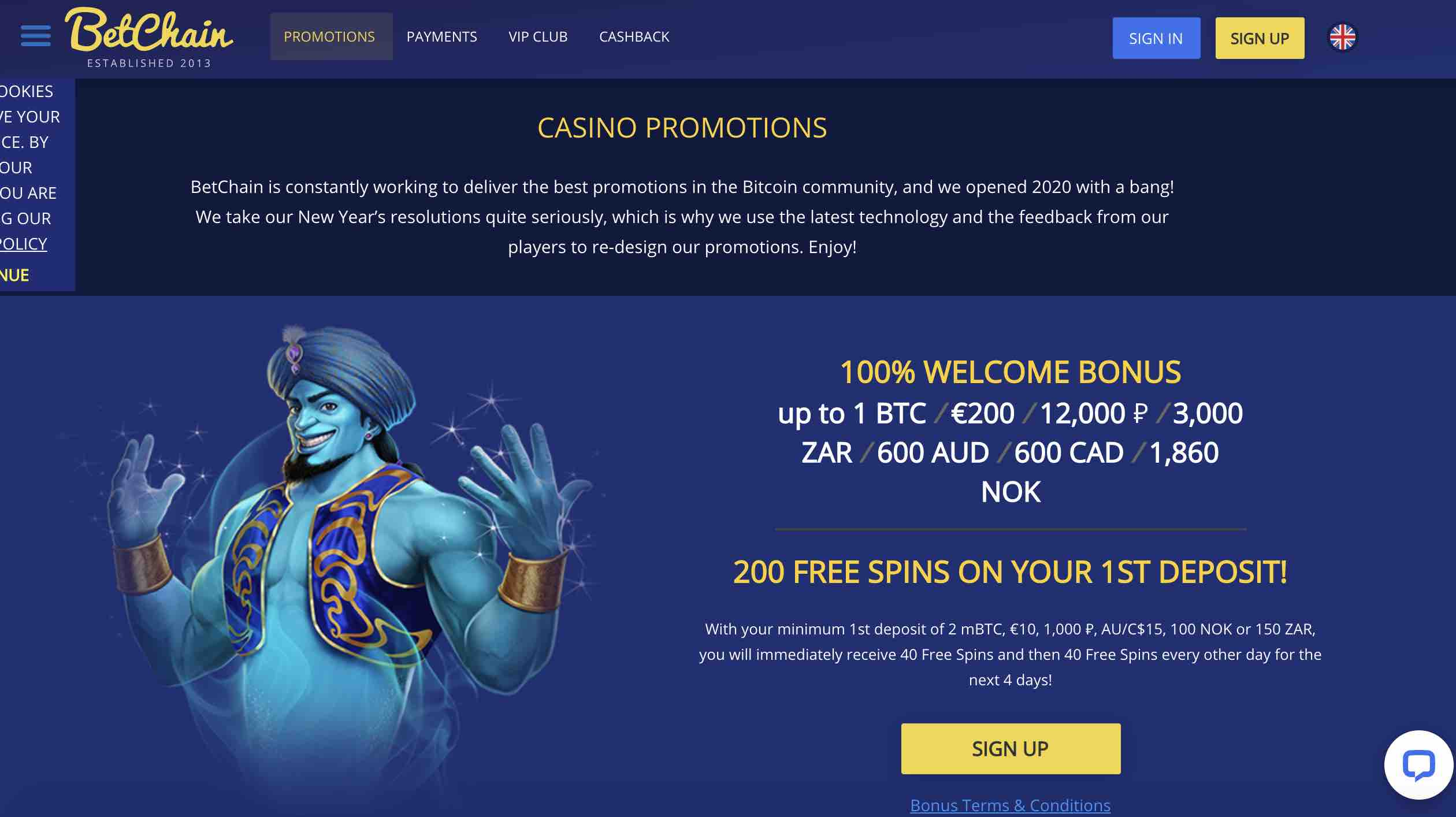 Promotions at BetChain Casino