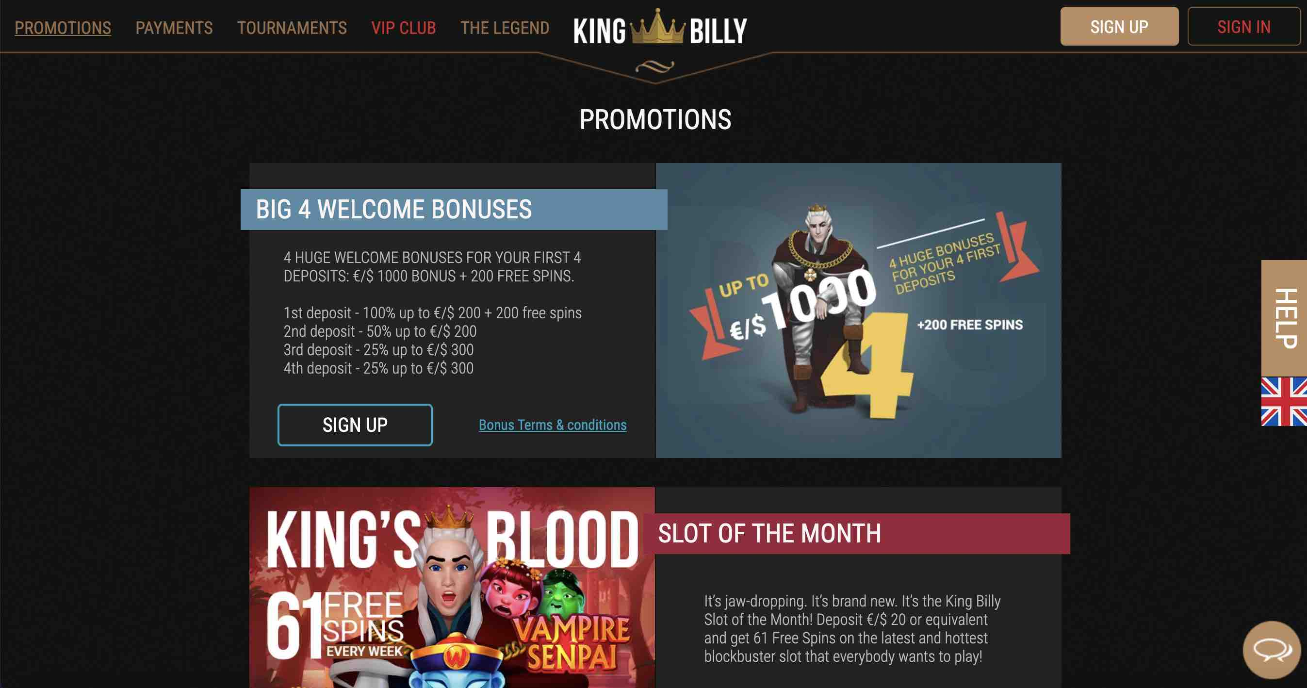 Promotions at King Billy Casino