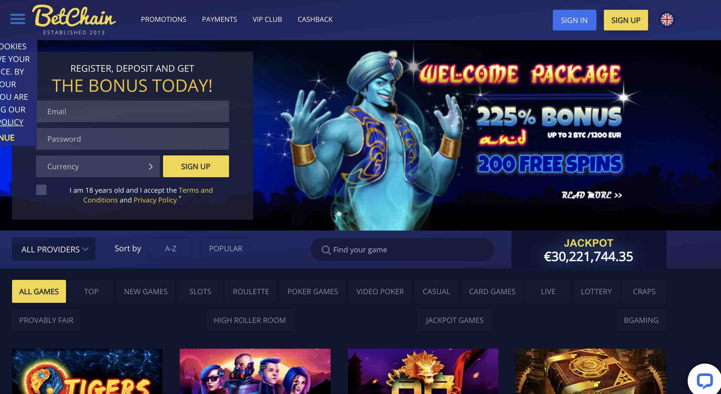 Welcome Offers at BetChain Casino