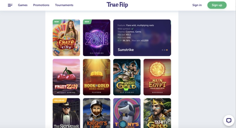 Best Games at True Flip Casino