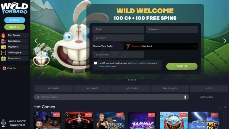 Big Offers and Promotions at Wild Tornado Casino