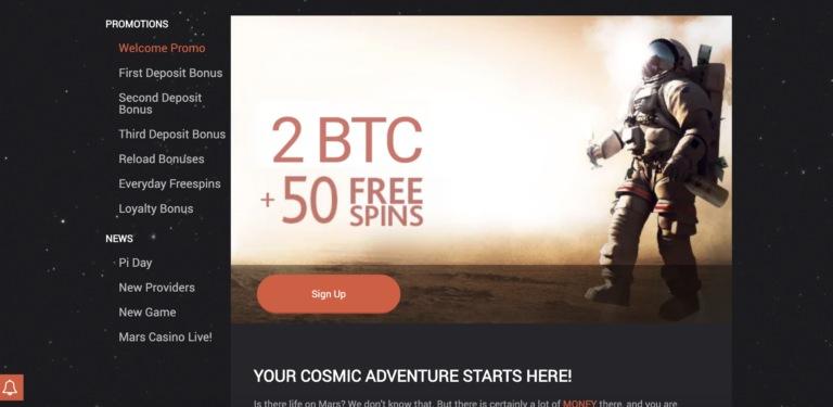 Bitcoin Bonuses at Mars Casino