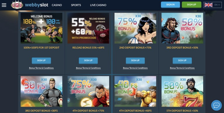 Bonuses and Offers at WebbySlot Casino