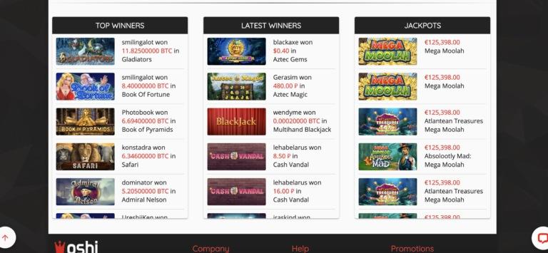 Oshi Jackpots and Games
