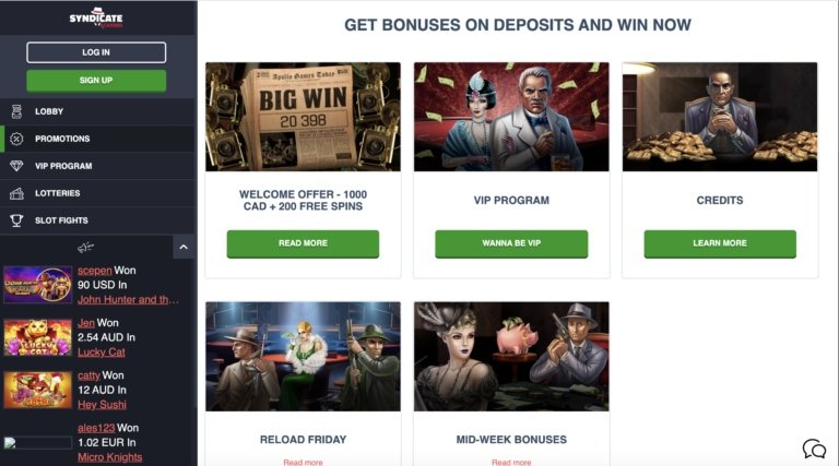 Collect Top Bonuses at Syndicate Casino