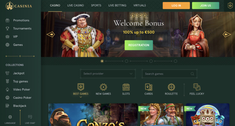 Join Casinia Casino for Great Games and More
