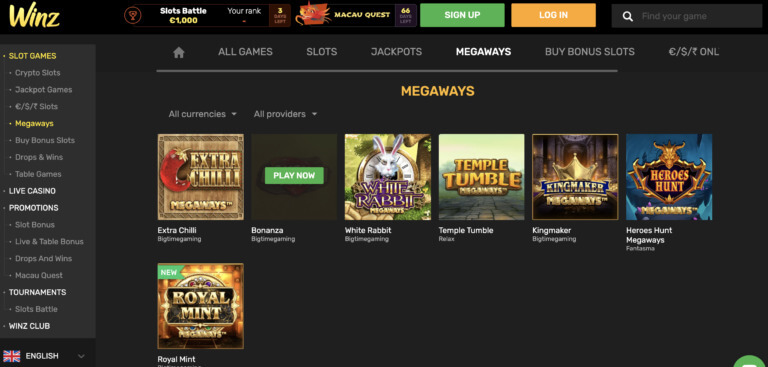 Live Casinos and More at Winz Casino