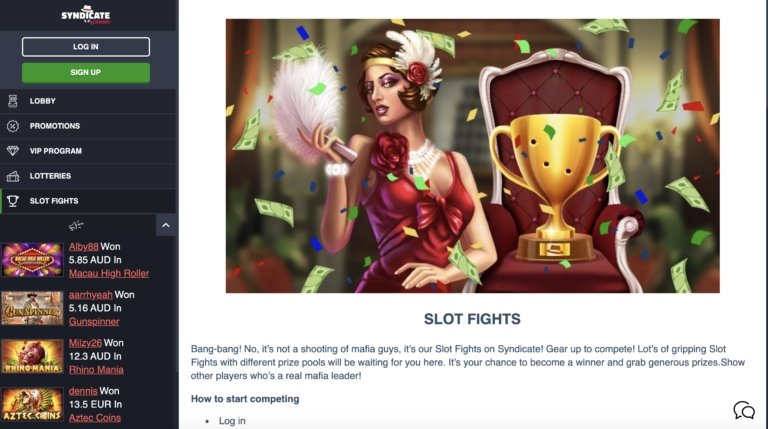 Play Slot Tournaments at Syndicate Casino