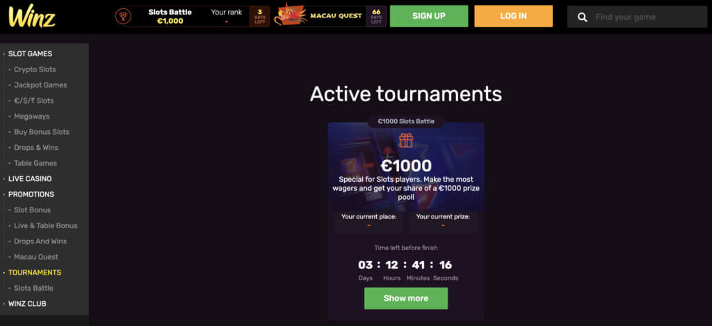 Play Top Games at Winz Casino