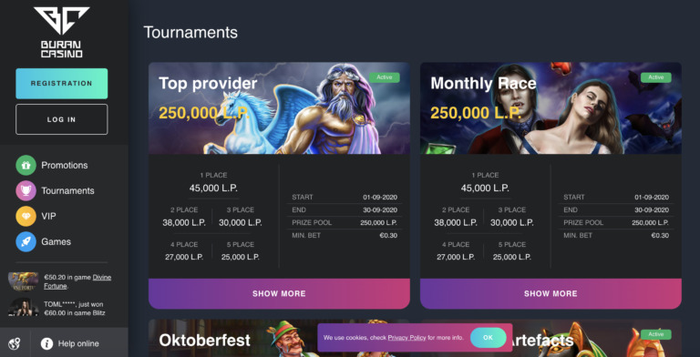 Real Money Tournaments at Buran Casino