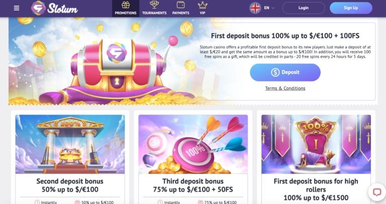Slotum Casino Casino bonuses