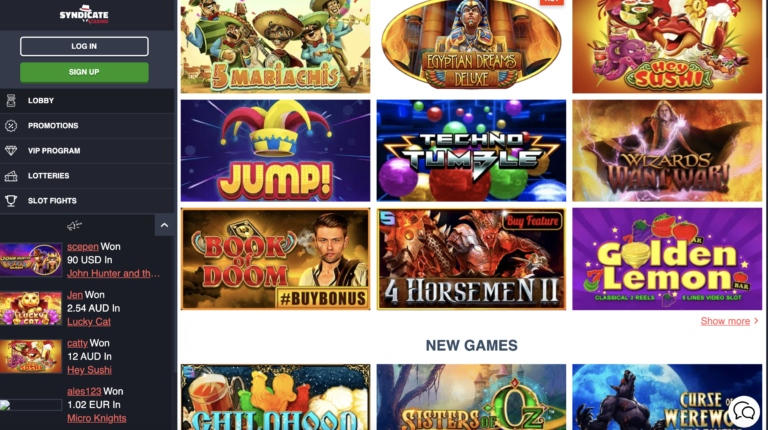 Slots and More at Syndicate Casino