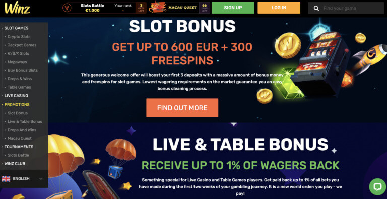 The Best Bonuses at Winz Casino