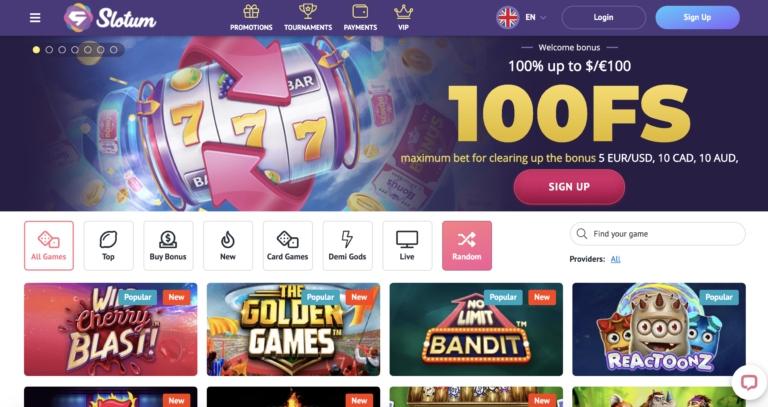 Top Games at Slotum Casino