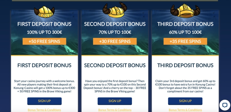 Welcome Bonuses at Konung Casino