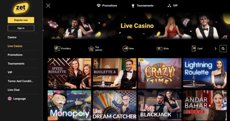 Zet Casino Live Casino Games