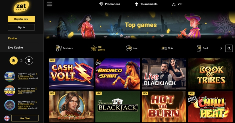 Zet Casino Slots and Table Games