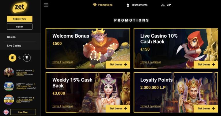 Zet Casino Welcome Bonuses