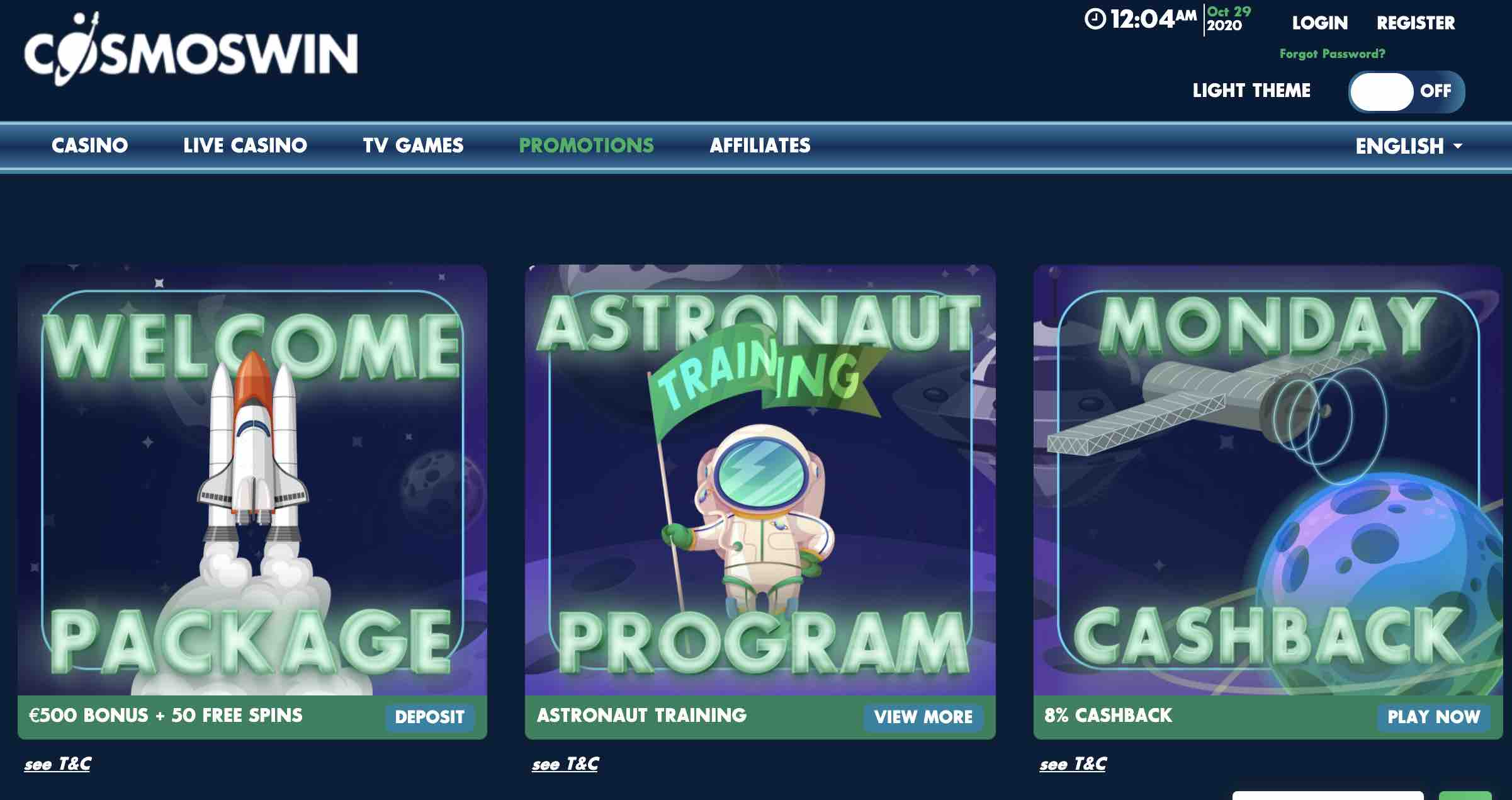 CosmosWins Casino Bonuses and Promotions