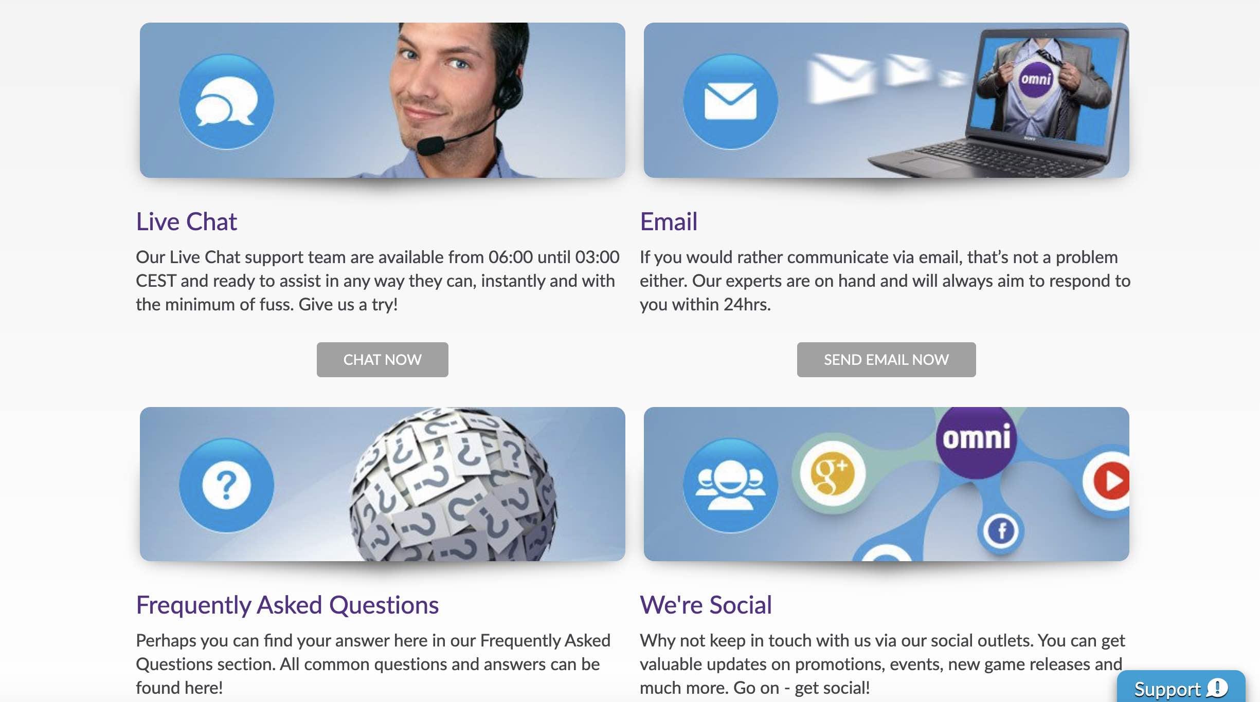 Customer Support Options at Omni Slots
