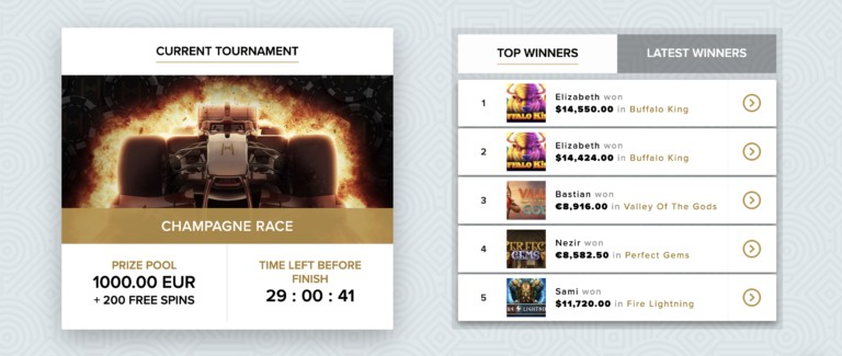 Join Tournaments at Champagne Spins