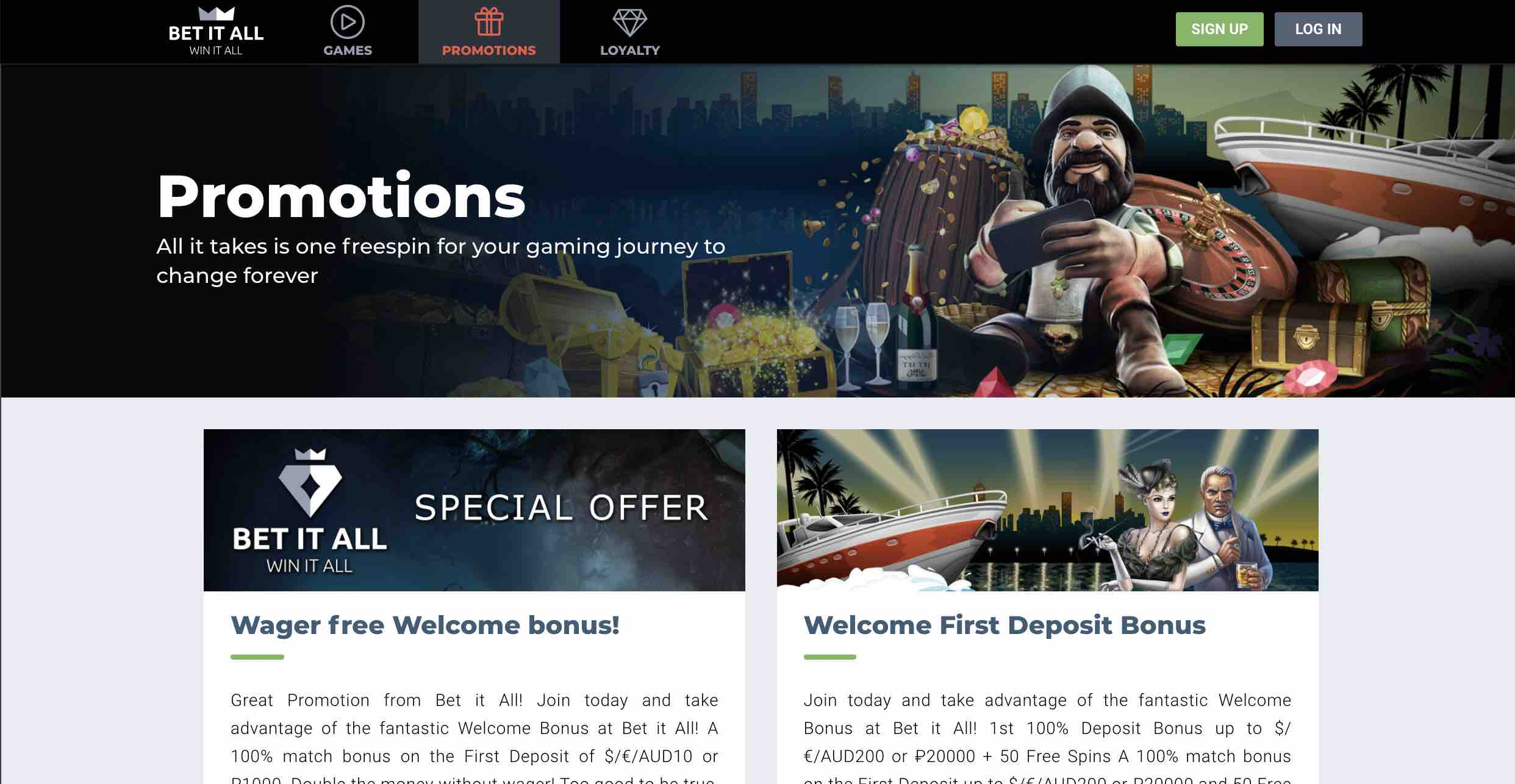 Promotions and Bonuses at Bet It All