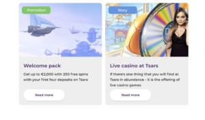 Promotions and Bonuses at Tsars Casino