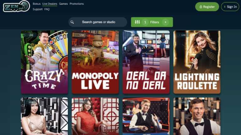 Zen Betting Casino Live Casino Games