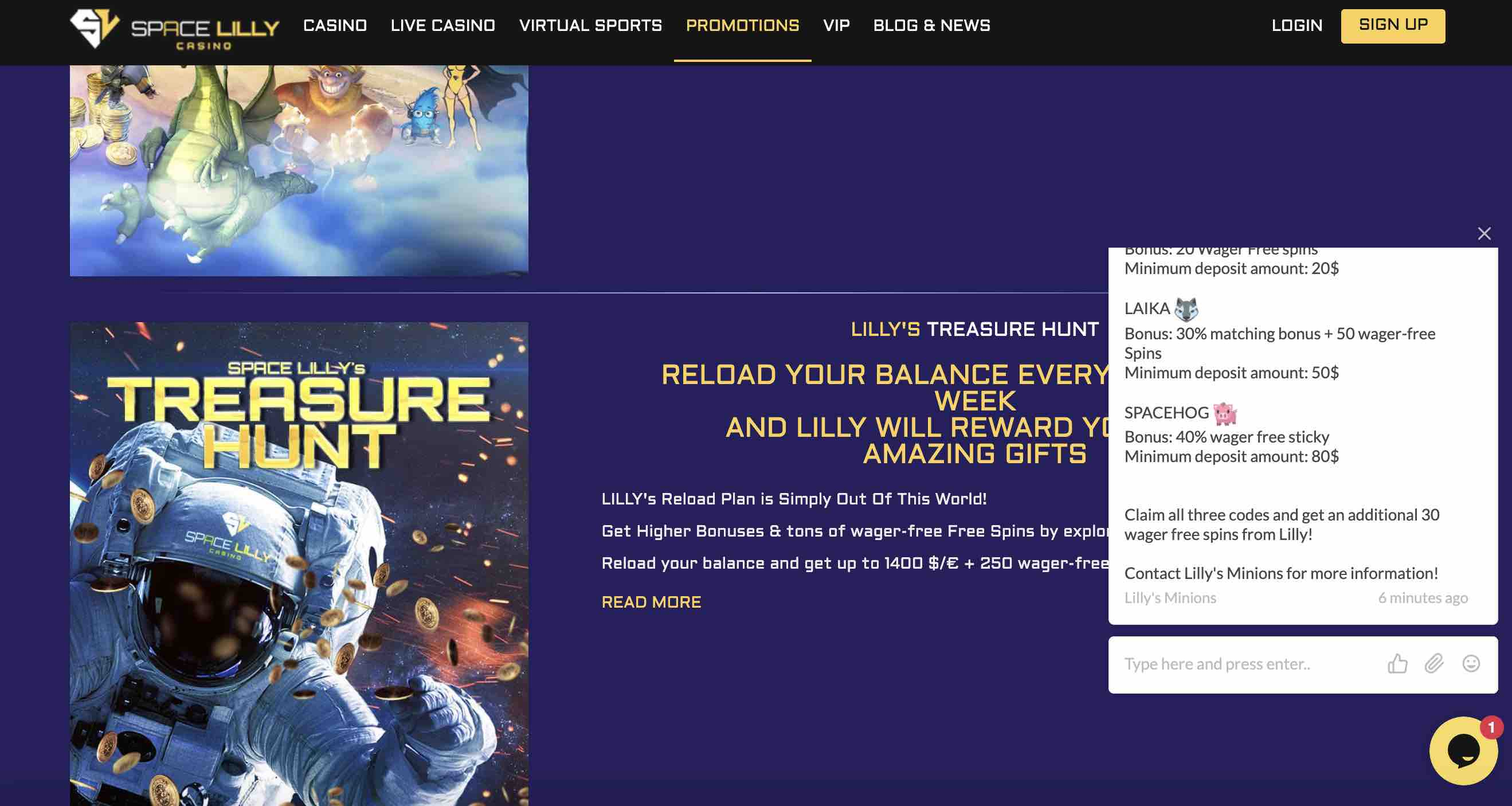 Casino Promotions at Space Lilly Casino