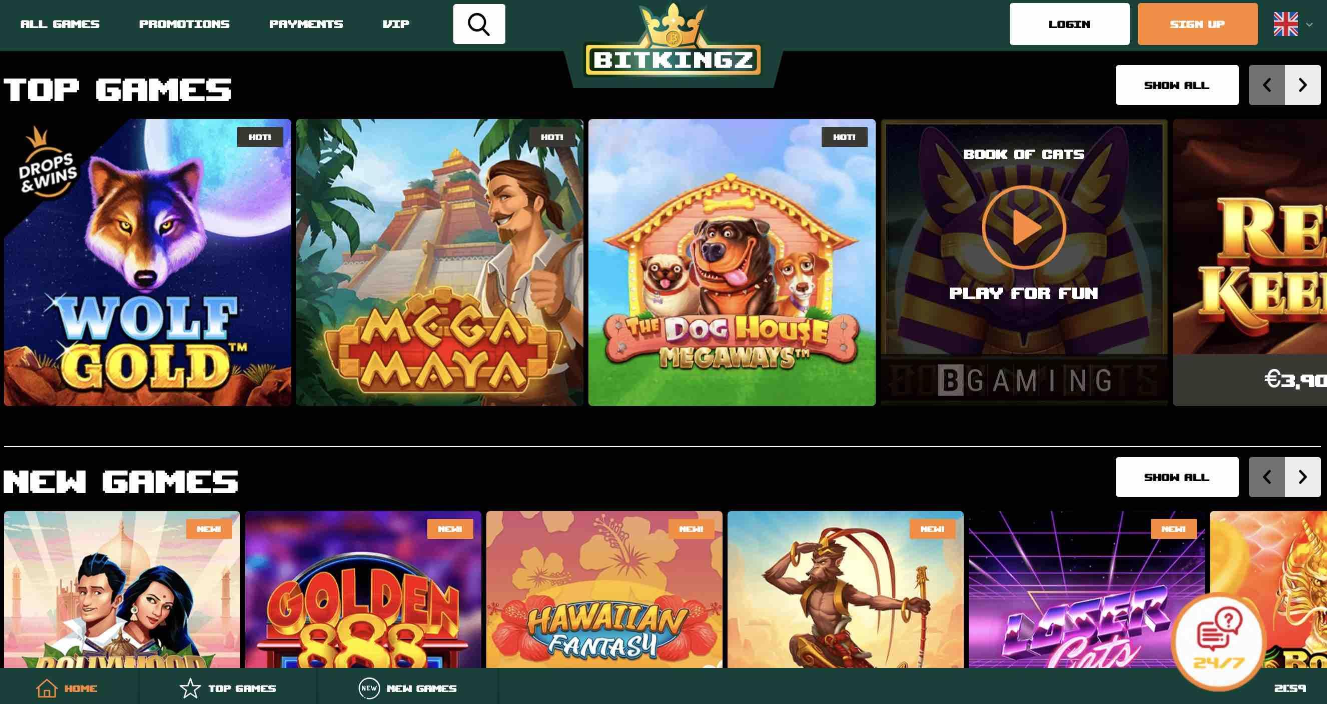 Slots and Table Games at BitKingz Casino