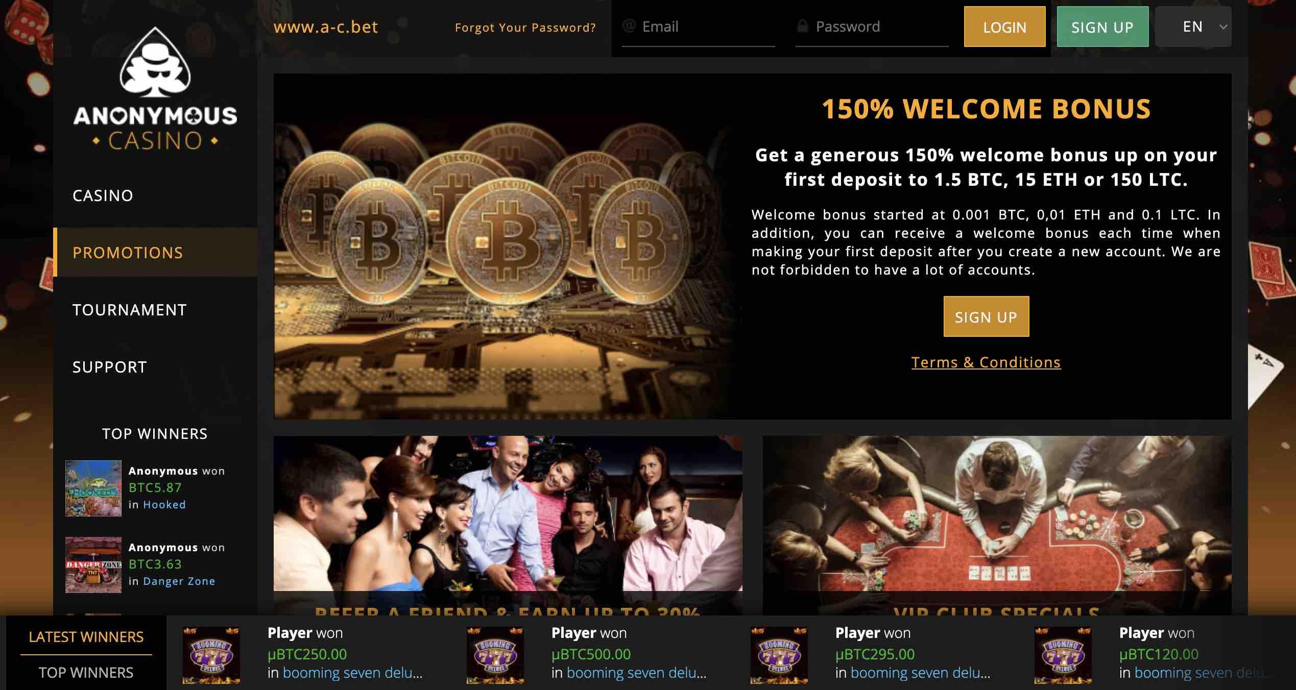 Anonymous Casino Bonuses