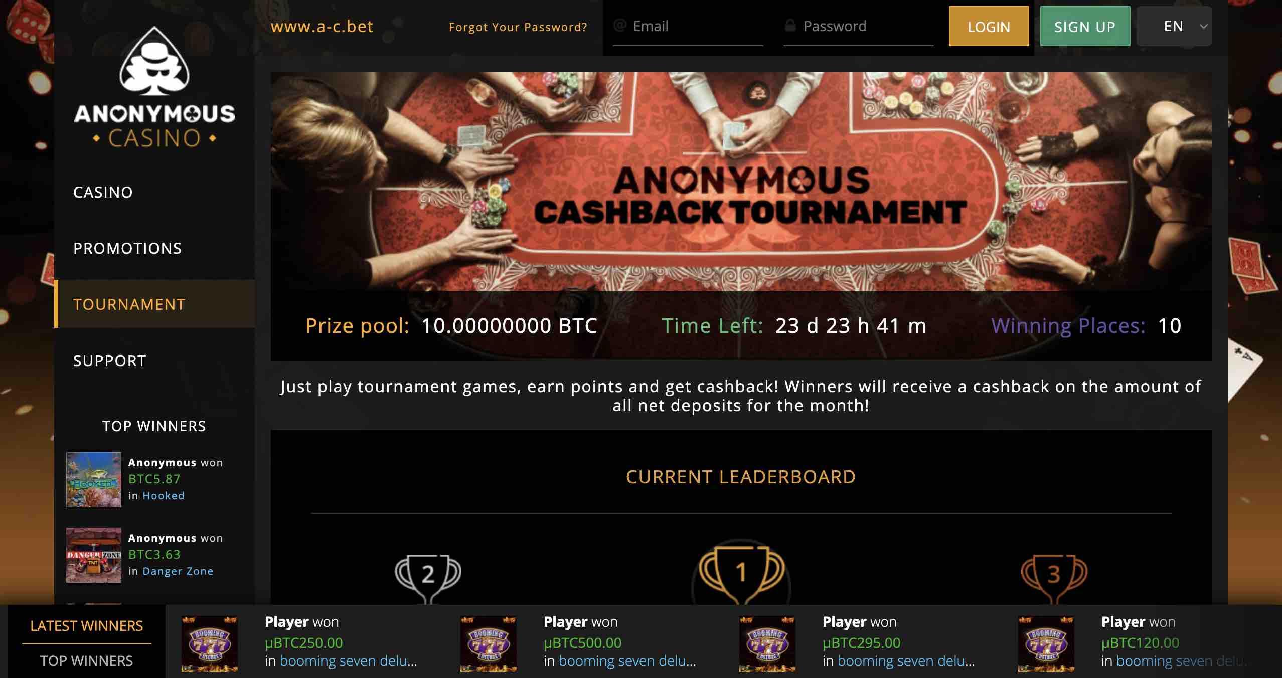 Anonymous Casino Slot Tournaments