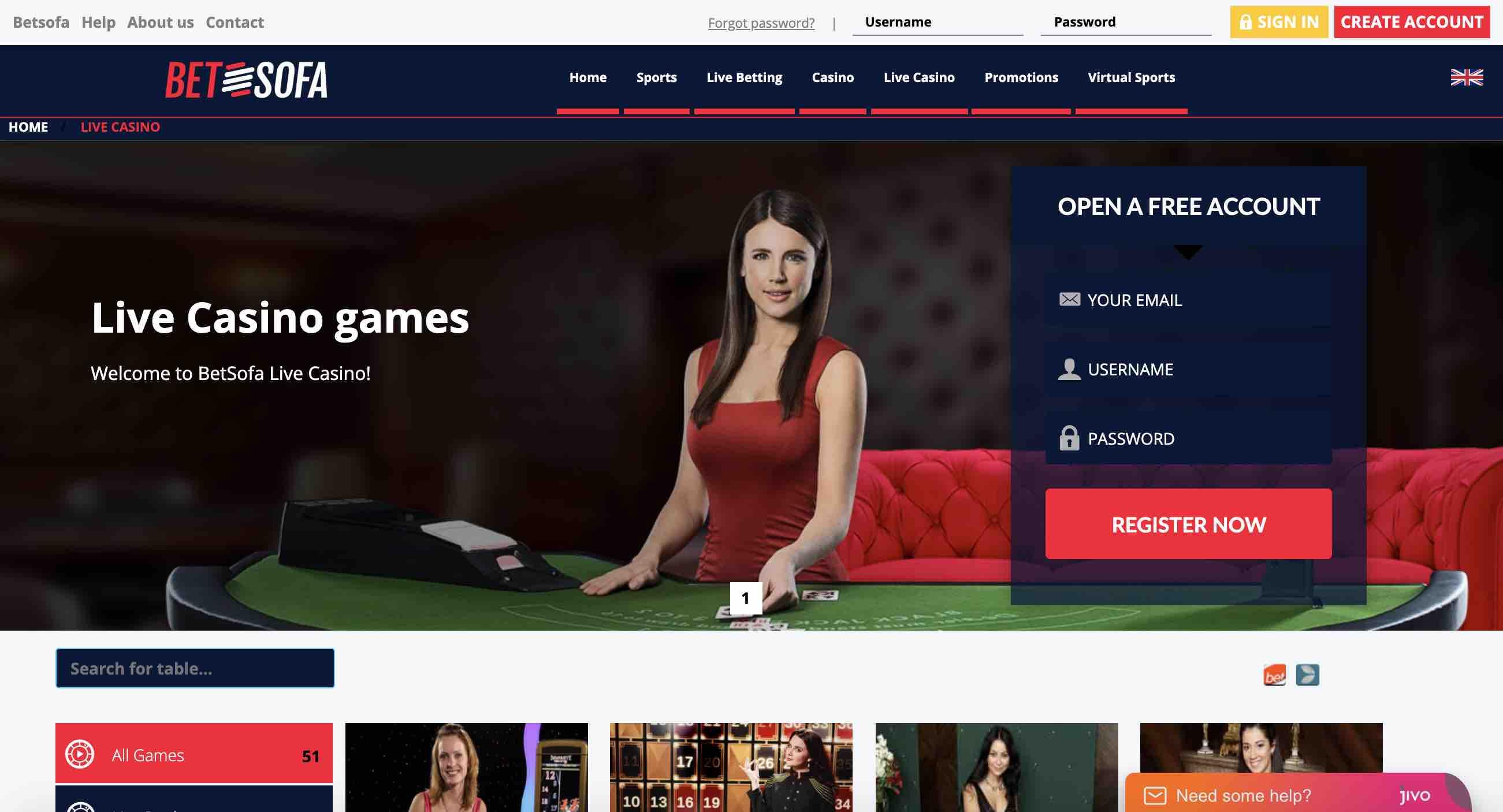 Betsofa Casino Live Casino