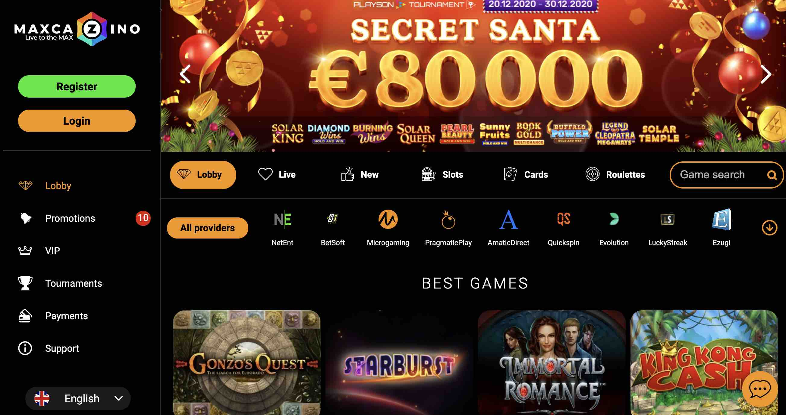MaxCazino Promotions and Games