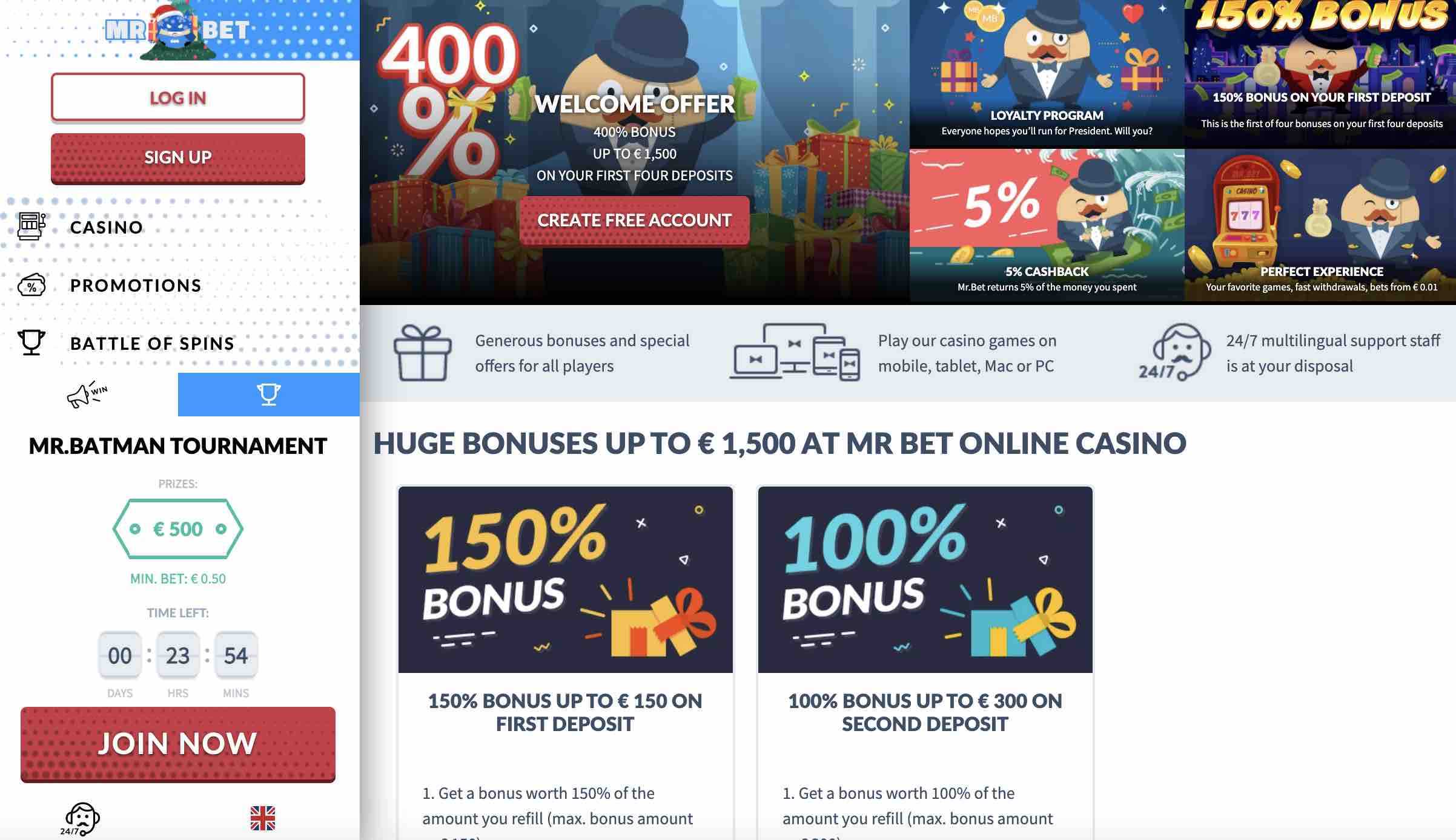 Mr Bet Casino Promotions