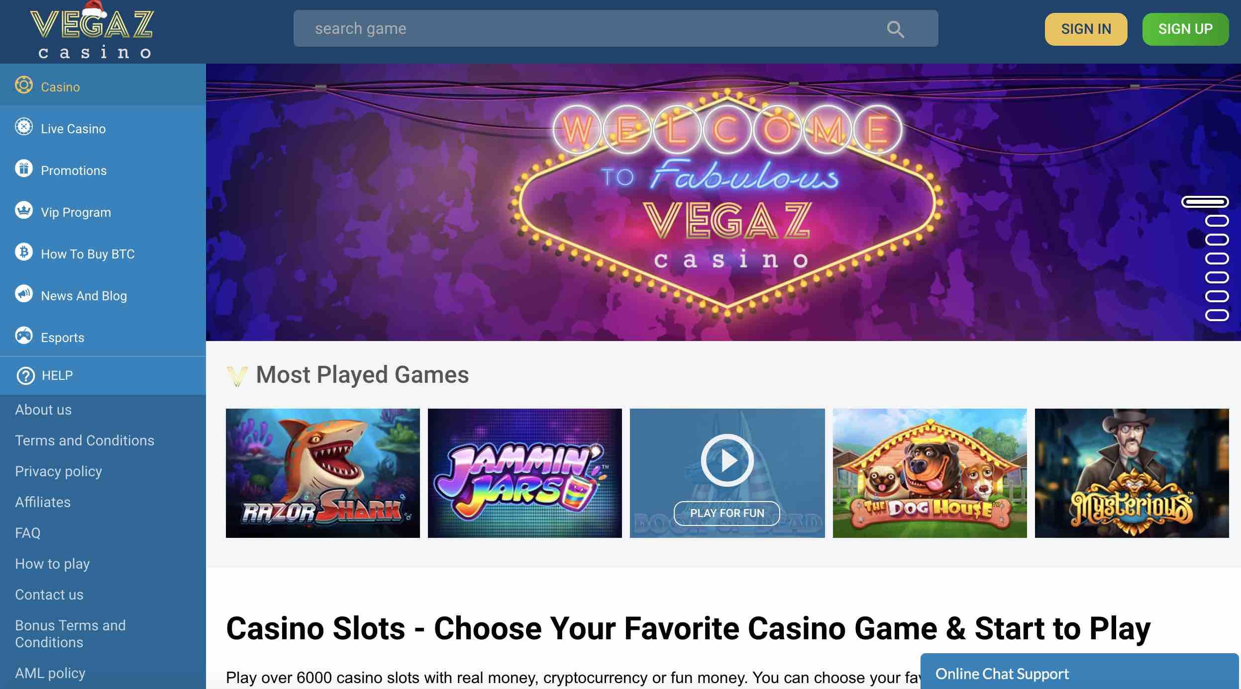 Vegaz Casino Bonuses and More