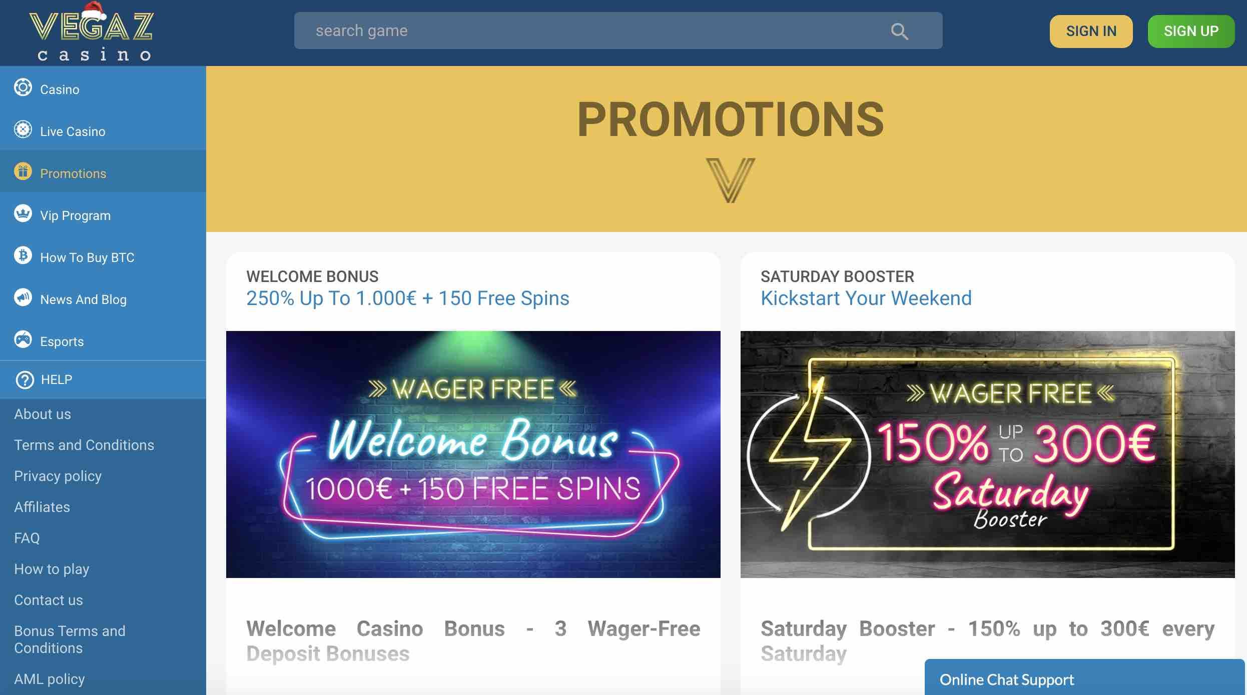 Welcome Bonus at Vegaz Casino