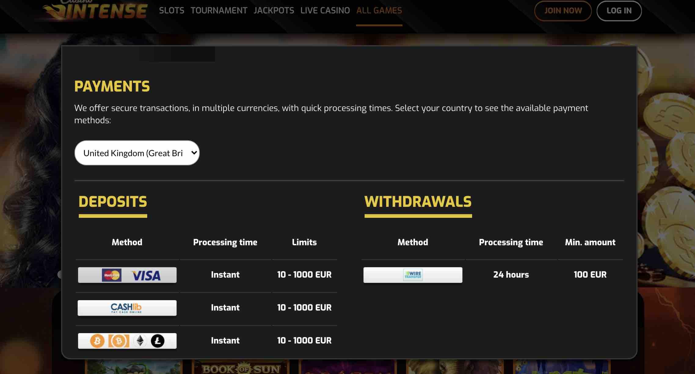 Casino Intense Payments