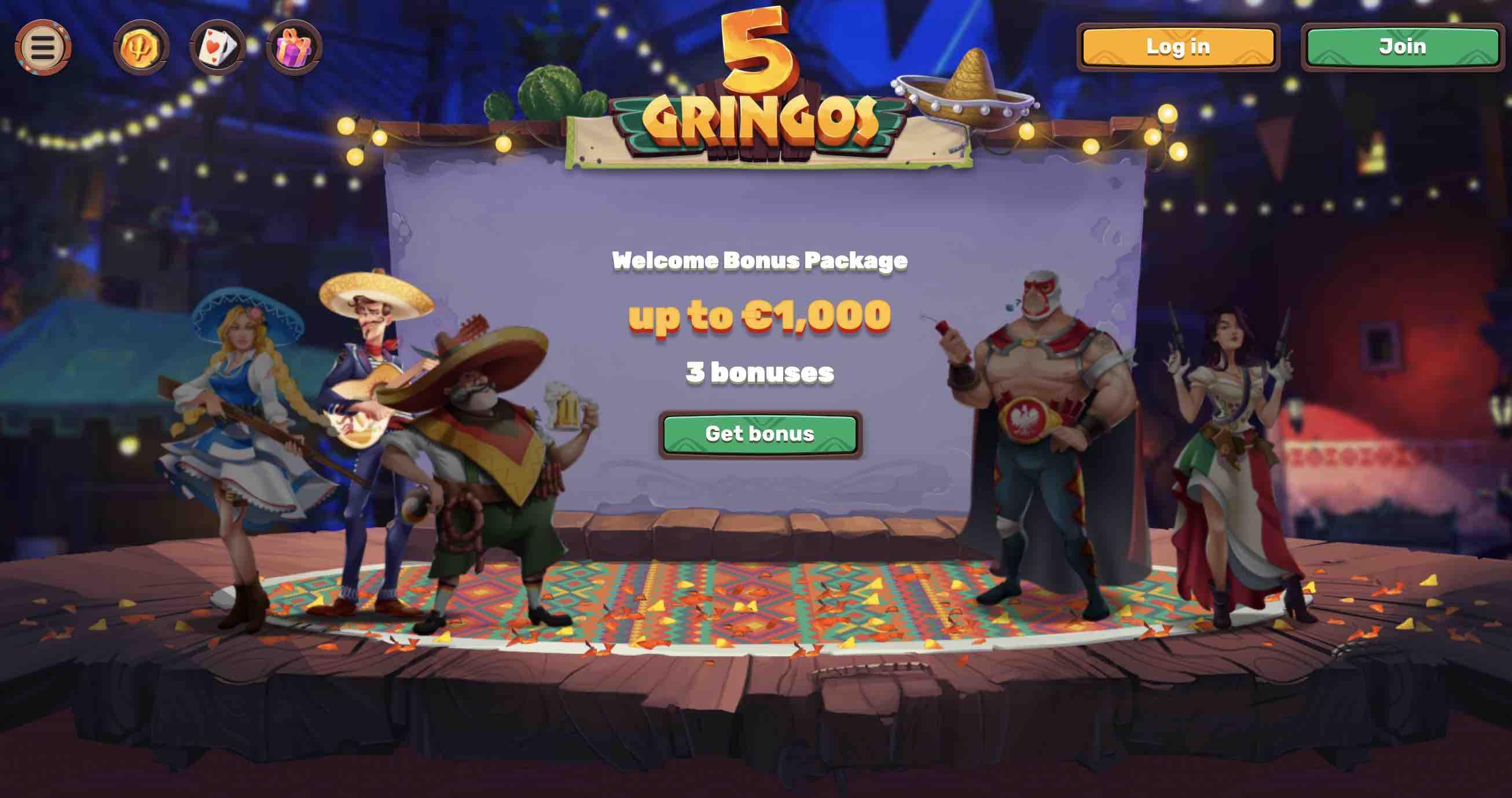 Welcome Bonus at 5Gringos Casino
