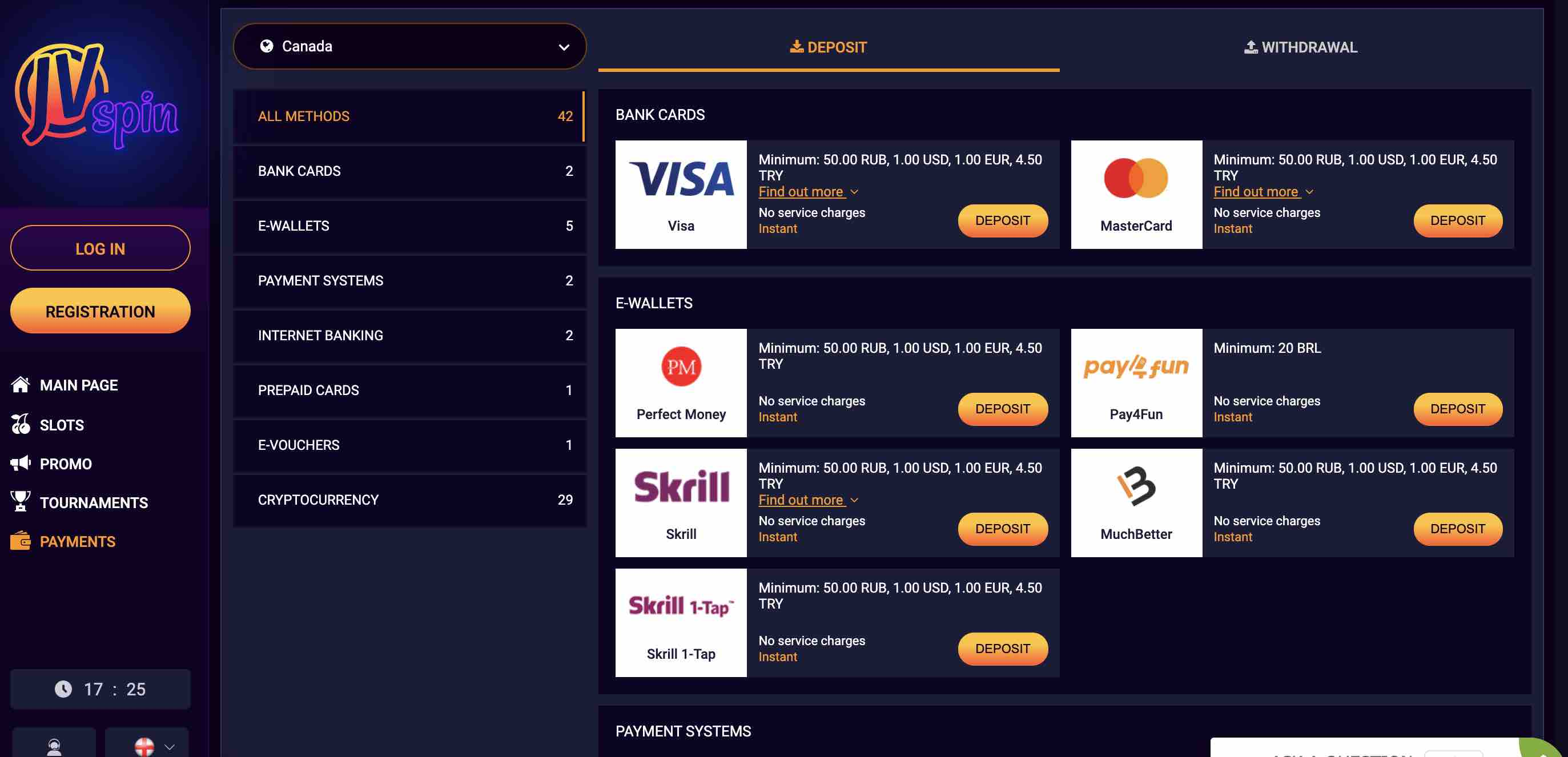 JV Spin Payment Options