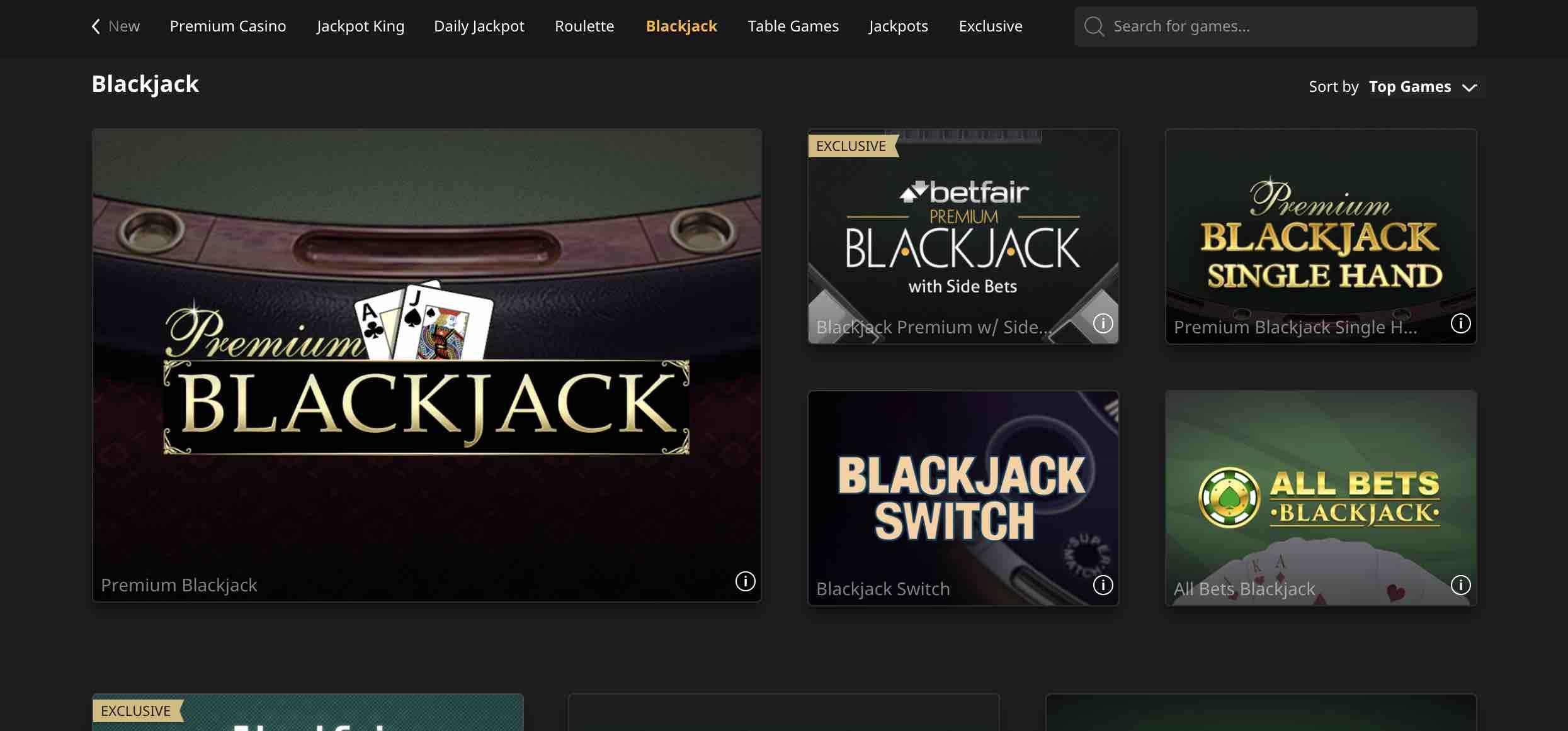 Best Games at Betfair Casino