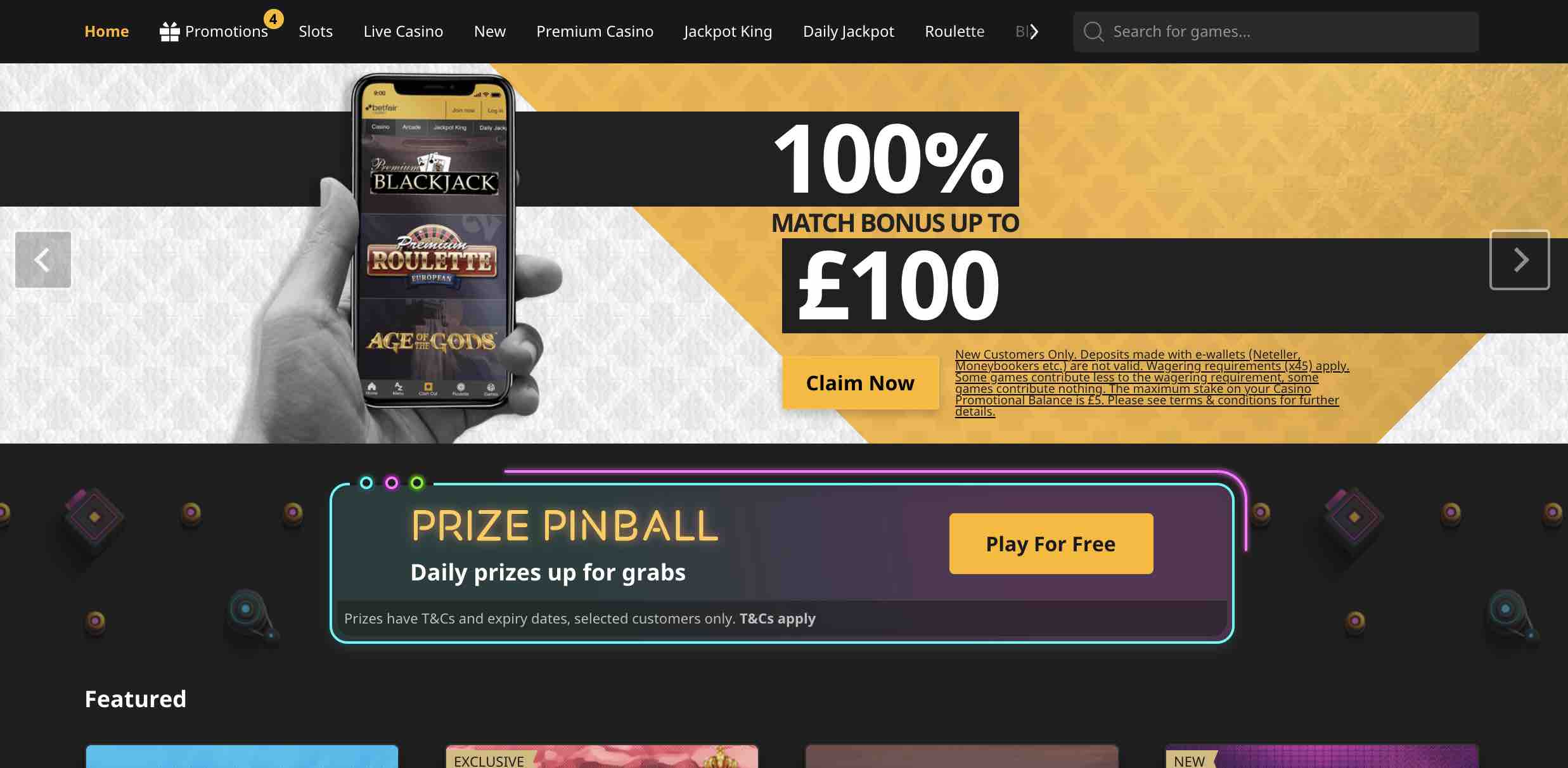 Get up to £100 at Betfair Casino