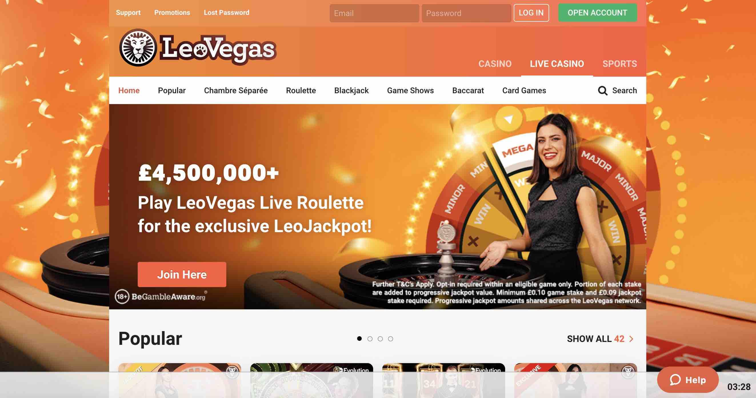 LeoVegas Casino Live Games