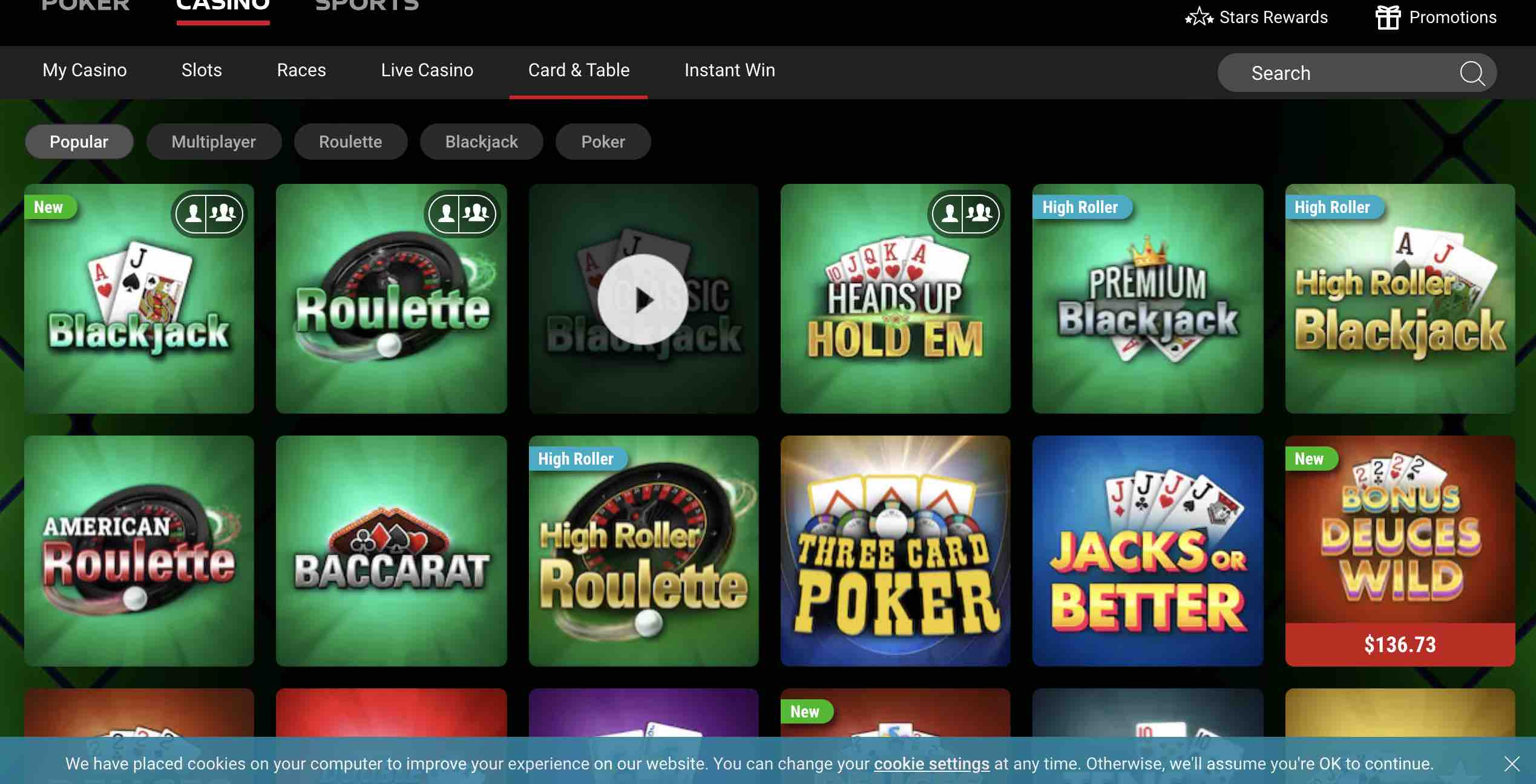 PokerStars Casino Table Games