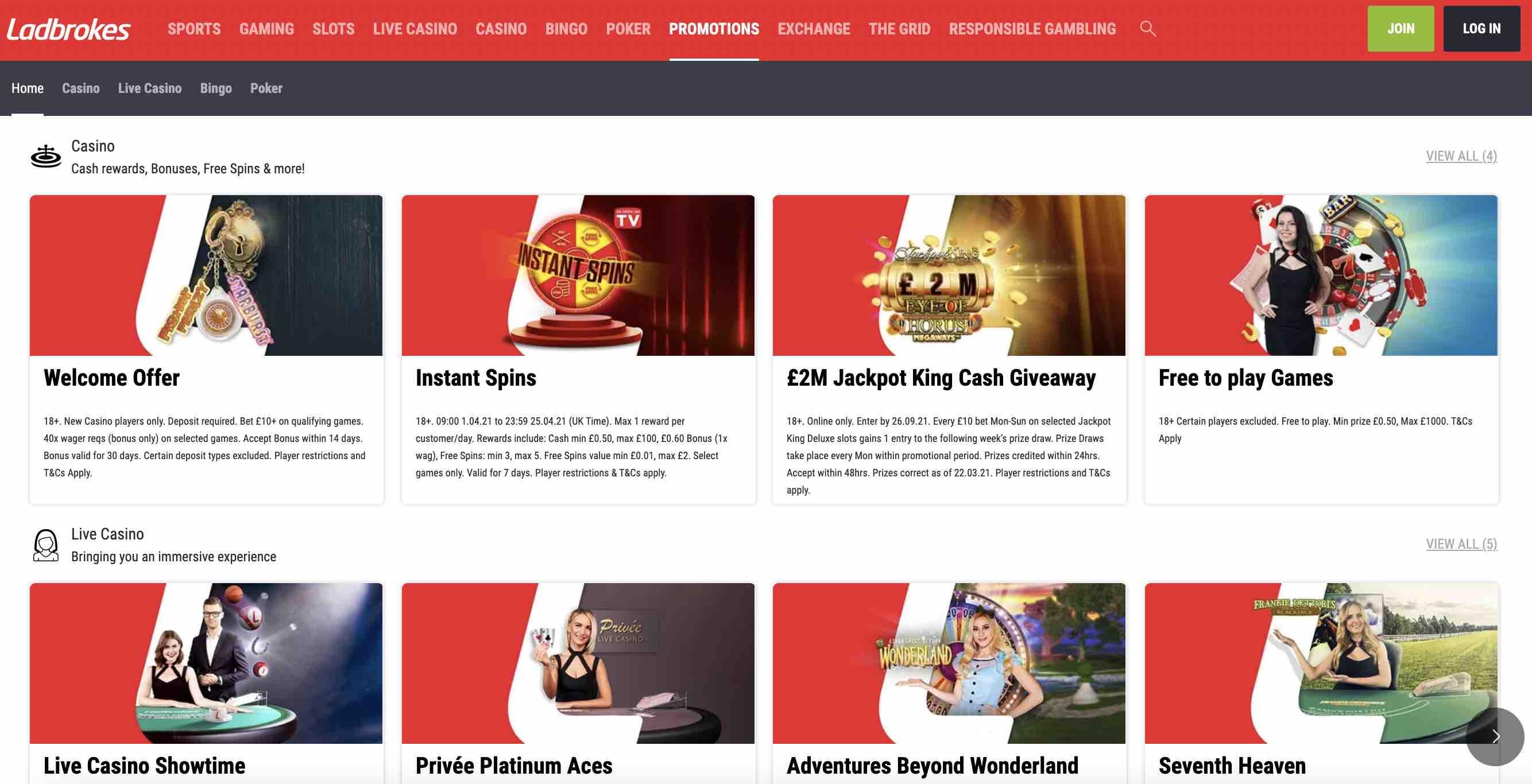 Bonuses at Ladbrokes Casino