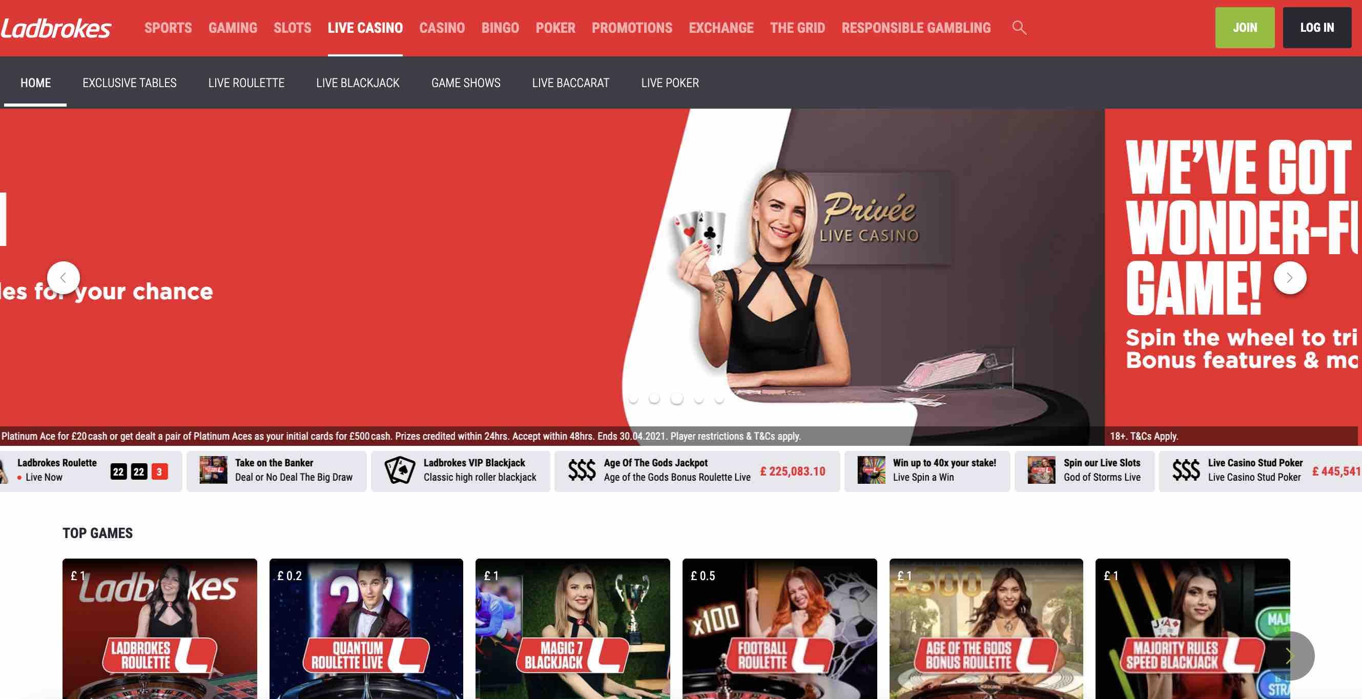 Live Casino Games at Ladbrokes Casino