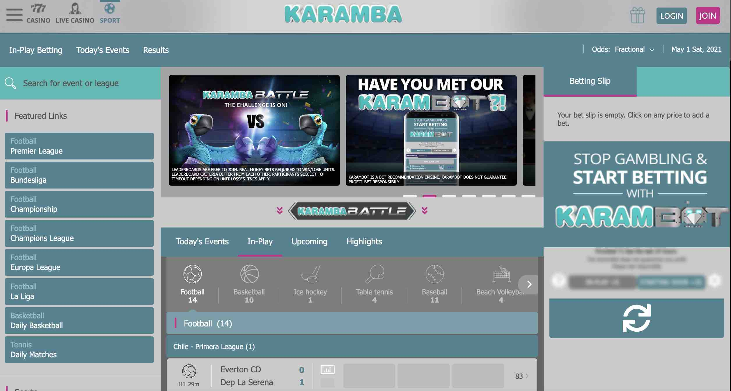 Karamba Casino Slots and Sports